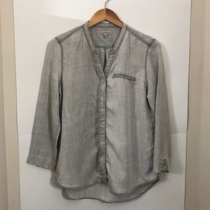 CALVIN KLEIN Large grey chambray button up blouse
